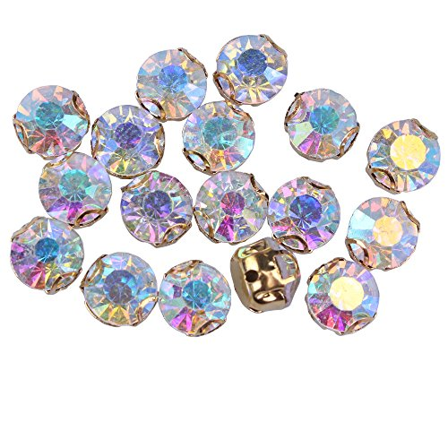 ZIJING 50pcs Gold Setting AB color Czech Glass Rhinestone Rose Montees Beads With 4 Holes for Sew On SS35 (AB color-50pcs) (Rose Ab Rhinestone)