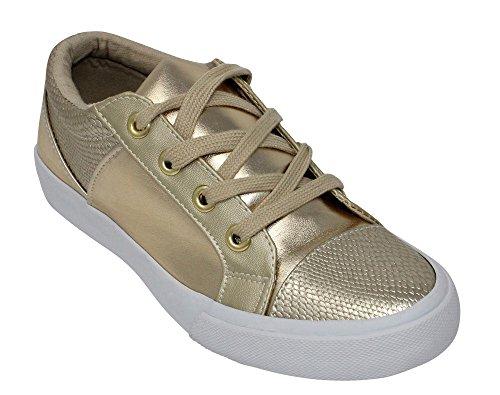 Sandali In Pelle Sintetica A Punta Arrotondata Con Punta Arrotondata, Suola Sintetica Fashion Sneaker Metallizzata Oro
