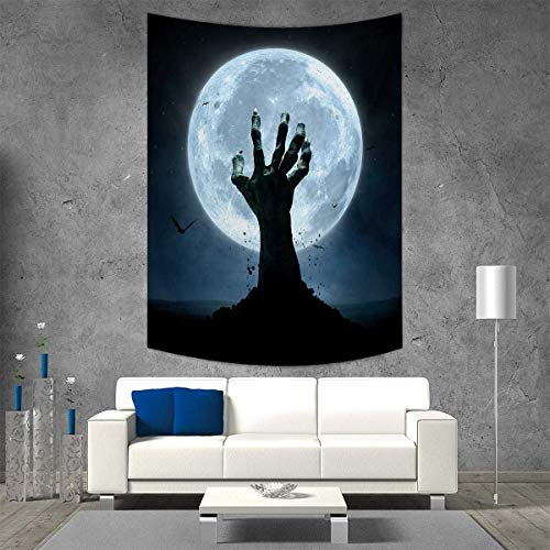 (smallbeefly Halloween Tapestry Table Cover Bedspread Beach Towel Realistic Zombie Earth Soil Full Moon Bat Horror Story October Twilight Themed Dorm Decor Beach Blanket 54W x 72L INCH Blue)