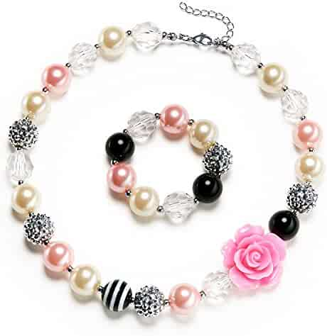 Vcmart Rosa Girls Cute Chunky Bubblegum Necklace and Bracelet set, 18