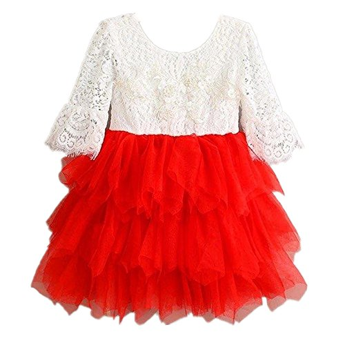 2Bunnies Girl Baby Girl Beaded Backless Lace Back Tutu Tulle Flower Girl Party Dress (Red Bell Sleeve, 6) -