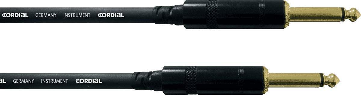 Cordial CCFI 3 PP- Cable para guitarra jack (6.3 mm, profesional, macho, acodado, 3 m), color negro