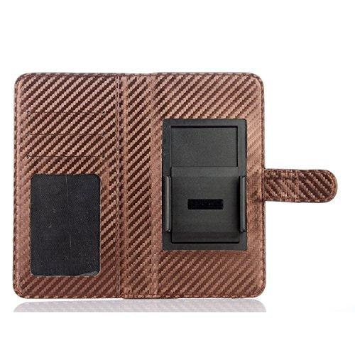 """Voguecase® Pour 5,5 pouces smartphone Coque, Flip Cover en cuir PU durable Housse commune pour téléphones dont l'écran est 5,5"""" Design (Marron)de Gratuit stylet l'écran aléatoire universelle"""