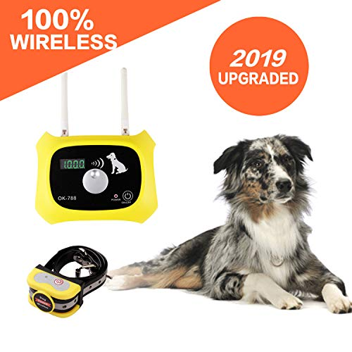(Wireless Dog Fence Electric Pet Containment System, Safe Effective Beep/Shock Design, Adjustable Control Range 1000 Feet & Display Distance, Rechargeable Waterproof Collar Receiver (1 Dog System))