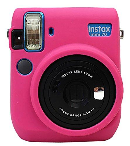 Protective Silicone Gel Rubber Soft Camera Case Cover Bag For Fujifilm Fuji Instax Mini 70 Camera Magenta