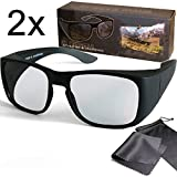 2x 3D Overglasses - Passive Circular Polarized 3D Movie & TV Glasses - For wearer of Glasses - For RealD Cinema use and passive 3D TVs like LG Cinema 3D Philips Easy 3D and 3DTVs from Sony Toshiba Panasonic Grundig Hisense CMX etc.