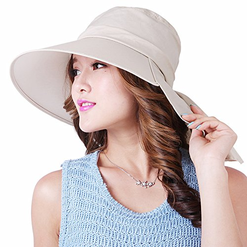Kaisifei Sun Bucket Hat with Neck Protection (Beige)