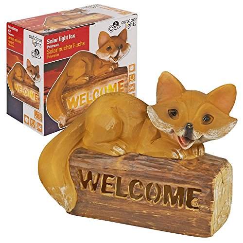 Outdoor Lights Solar Powered Welcome Sign Garden Fox Led Light Up Lamp Patio Yard Path Lantern