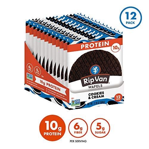 Rip Van Wafels Cookies & Cream Stroopwafels - High Protein Snacks (10g Protein) - Non GMO Snack - Keto Friendly - Office Snacks - Healthy Snacks - Low Sugar (5g) - 12 Pack 2