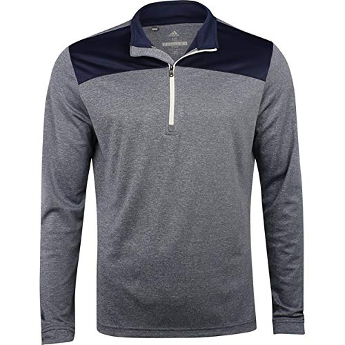 Golf Mens Pullover - adidas Golf Men's Lightweight UPF 1/4 Zip Pullover Jacket, Collegiate Navy Heather, X-Large