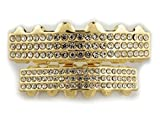 4 piece gold grill - 14K Gold Plated 3 ROW ICED OUT CZ GRILLZ Top Bottom SET (Top and Bottom)
