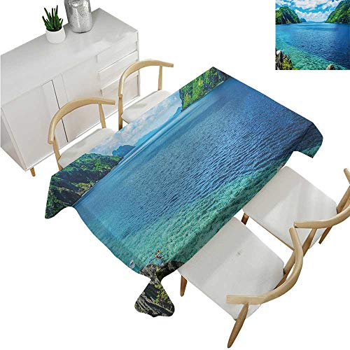 familytaste Nature,Tablecloth Rectangular,Scenic View Sea Bay and Mountain Islands in Palawan Philippines Idyllic Image,Table in Washable Polyester 52