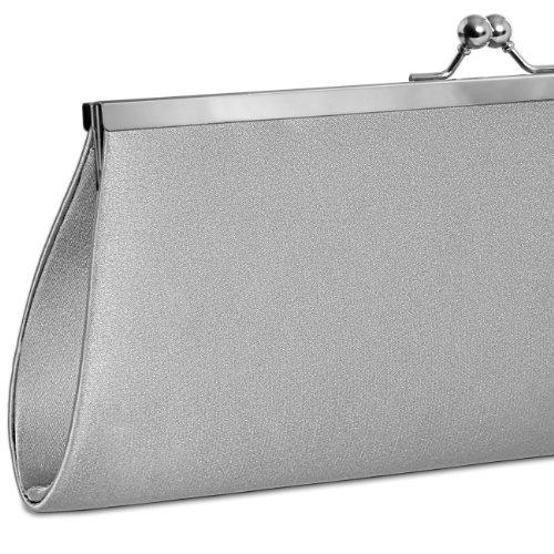 CASPAR klassische Damen Satin Clutch / Abendtasche mit elegantem Metallbügel - viele Farben - TA309 Silber mnJMA3Ix