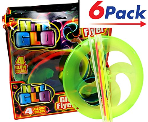 JA-RU Light Up Frisbee Cotillon Party (Pack of 6) Glow in The Dark Party Frisbee   Item #87-6