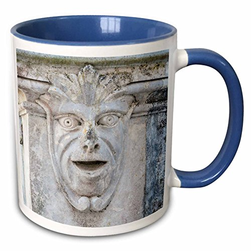 (3dRose Danita Delimont - Sculpture - Europe, Portugal, Sintra, Sintra National Palace, stone face - 15oz Two-Tone Blue Mug (mug_227849_11))