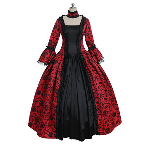 1791's lady Women's Victorian Rococo Dress Inspiration Maiden Costume NQ0032 (M:Height65-67 Chest36-37 Waist28-29, Red&Black) -
