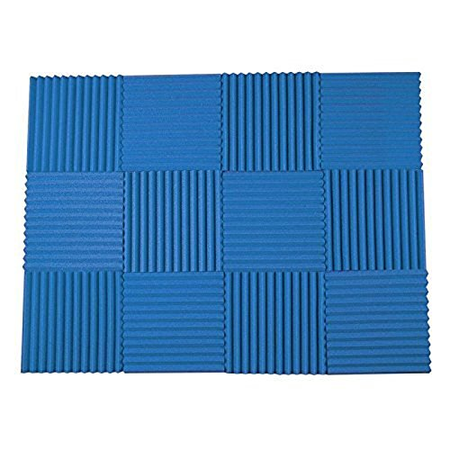 Studio Panel Absorber - 12 Pack All Blue Acoustic Foam Sound Proof Foam Acoustic Panels Nosie Dampening Foam Studio Soundproofing Padding 1