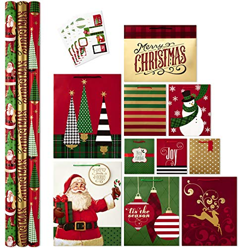 Hallmark All in One Christmas Gift Wrapping Set, Traditional (3 Rolls of Wrapping Paper, 10 Assorted Gift Bags, 32 Gift Tag -