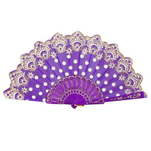 Lywey Mystery Gift, Chinese/Spanish Style Dance Wedding Party Lace Silk Folding Hand Held Flower Fan, Ancient Ornament (Purple)