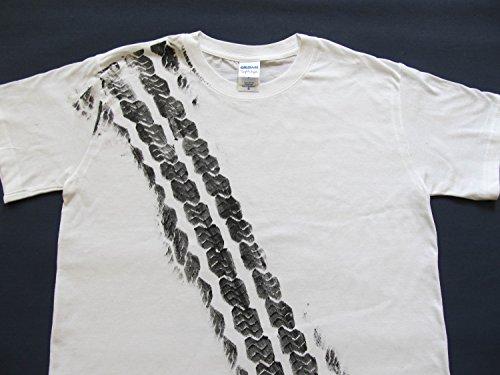 REIFENSPUR T-Shirt Shirt Road Print Herren Bremsspur Reifen Auto Tshirt weiß