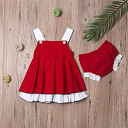 Honykids Baby Girls Christmas Dress Suspender Pleated Skirt+Shorts Bottom Outfits