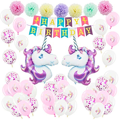 MyPiMiu Unicorn Balloon Birthday Party Decorations for Girls | 46 Pcs| Unicornio Latex Balloon Set | Giant Unicorn Head Balloon | Pompom | Happy Birthday Banner | 2018 Unicorn Party Supplies -