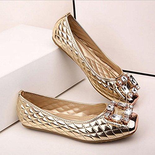 Giy Womens Mode Rhinestone Loafers Moccasin Stängd Tå Slip-on Klassiska Loafer Oxfordskor Balett Platt Guld