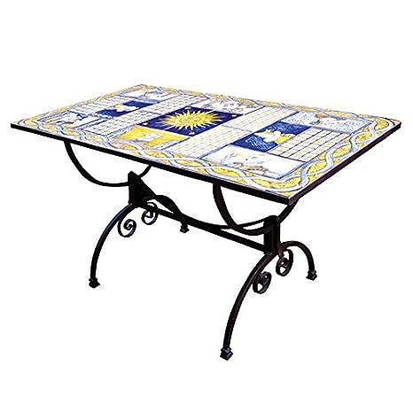 Tavolo rettangolare in ferro battuto e mattonelle in ceramica ...