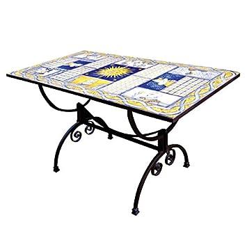 Tavoli Da Giardino Decorati.Tavolo Rettangolare In Ferro Battuto E Mattonelle In Ceramica