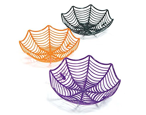 SALE - 3 Large Spider Web Plastic Basket Bowls for Halloween Parties (Halloween Candy Baskets)
