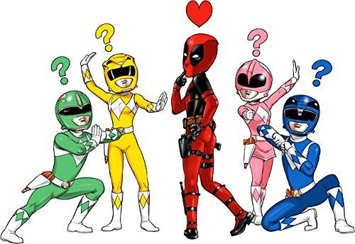 Parodia Deadpool - Power Rangers Felpa con Cappuccio Bambino et Ragazzo Nera Deadpool Ref:889 Power Rangers umoristico con Wade Winston Wilson Deadpool e i Power Rangers