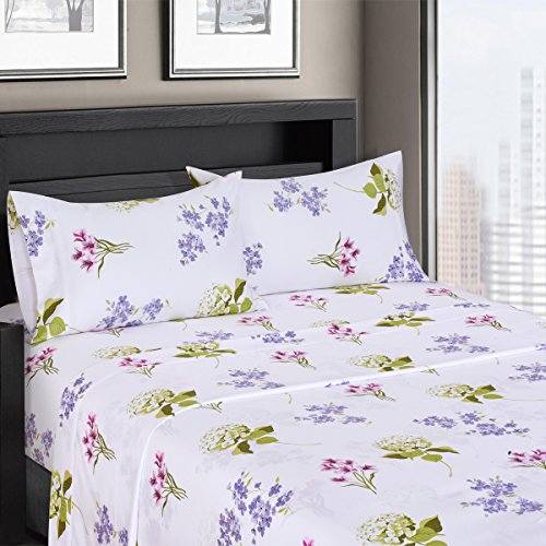 - Ultra Soft & Exquisitely Smooth Genuine 100% Plush Cotton Floral Blossom Percale 300TC Sheet Set, 4 Piece Queen Size Deep Pocket Sheet Set, Periwinkle/Sage/Purple