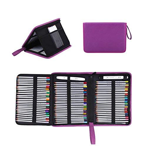 Yosoo 72 Slots Foldable Pencil Case Large Capacity Zippered Pen Bag Pouch with Handle Strap PU Leather Storage Organizer Multi-Layer Stationary Case, Purple -