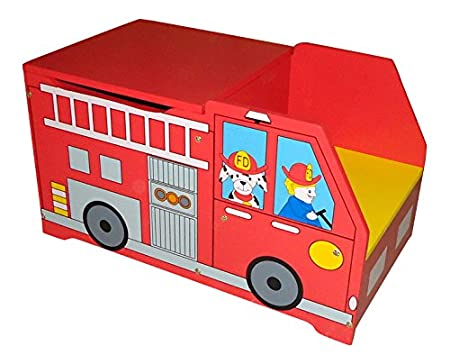 FIRE ENGINE KIDS CHILDRENS RED WOODEN TOY BOX BENCH STORAGE BOX * BRAND NEW  *