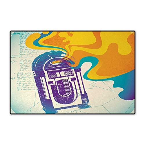 Jukebox,Doormat,Retro Vintage Radio Music Box with Marigold Yellow Abstract Fog Like Image,Bath Mat for Tub,Purple and Blue ()