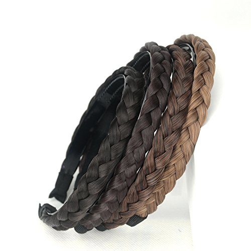 aHairBeauty Plaited Braided Headband Hair Band Synthetic Braid Hairpieces Wig with Teeth Piano Two Tone Colors Accessories for Women Girl Wide 0.7 Inch