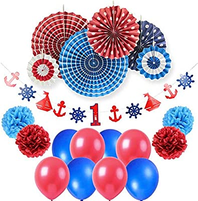 Yong Party Nautical Supplies Ahoy Baby Boy 1st Birthday Decoration Banner Latex Balloons 19pcs