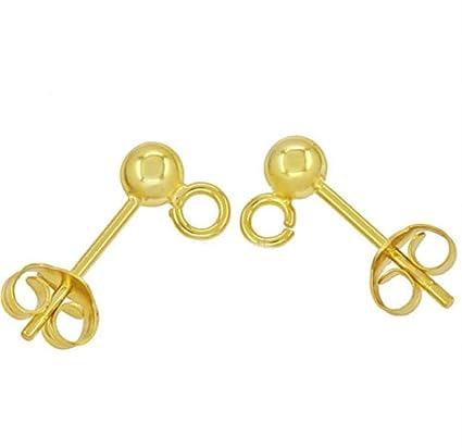 3b2a1169f Amazon.com: 20pcs Hypoallergenic Earring Posts Stud Earrings 5mm Ball Post  with Loops Earnut Backs   14k Gold Plated Brass CF218-4