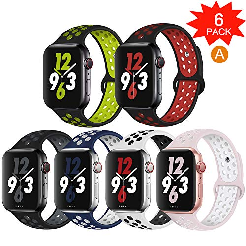 OriBear Compatible for Apple Watch Band 44mm 42mm, Breathable Sporty for iWatch Bands Series 4/3/2/1, Watch Nike+, Various Styles and Colors for Women and Men(S/M,6 Pack)
