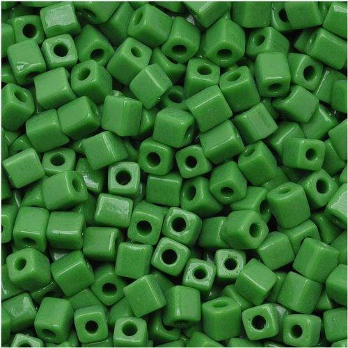 - Miyuki 4mm Glass Cube Beads Opaque Grass Green #411 10 Grams