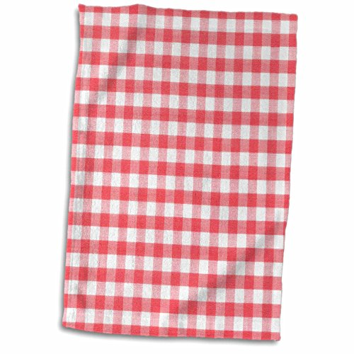3dRose 3D Rose Red and White Gingham Pattern-Retro Checkered Checked Rustic Italian Kitchen Dining Theme Hand/Sports Towel, 15 x 22