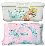 Pampers Baby Wipes Tub, Sensitive 64 ct + Bonus Refill 64 Pack Bundle (128 Diaper Wipes in Total)