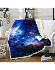 "Blue Galaxy Blanket Comfort WarmthSoftCozyAirConditioningMachine Wash BlackandWhite RoseSkullSherpaFleeceBlanket(Throw60""x80"")"