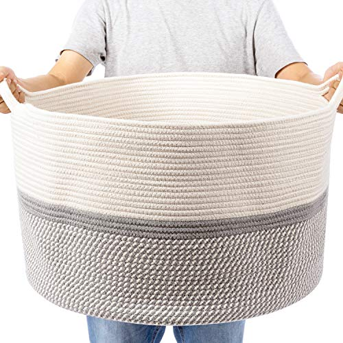 "XXL Extra Large Cotton Rope Woven Basket, Throw Blanket Storage Basket with Handles, Pink Decorative Clothes Hamper - 22"" x 22"" x 14"""