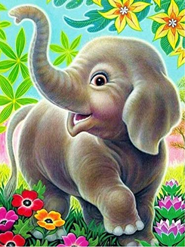 Kid Art Elephant - KoKoWill 5D DIY Diamond Painting Kit for Adults Kids, Full Drill Round Crystal Rhinestone Embroidery Cross Stitch Home Wall Décor Arts Craft Canvas,Elephant,11.81 x 15.75 inch