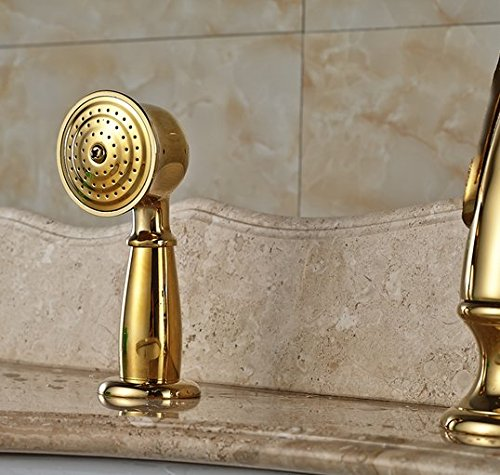 GOWE Luxury Brass Golen Bathtub Sink Faucet Deck Mount Swan Tub Mixer Taps One Handle 3 hole with Hand Shower 3