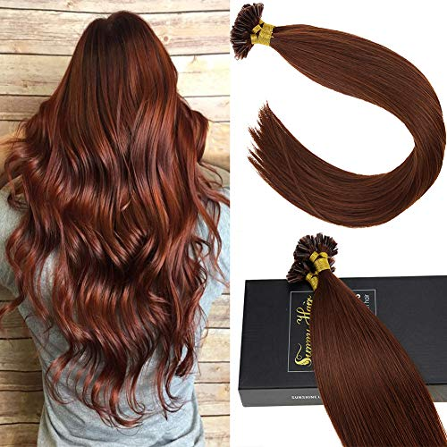 (Sunny 100% Real Remy Hair Extensions Keratin Bond Human Hair 18inch Auburn Red #33 50g/package Remy Glue in Extensions Hair)