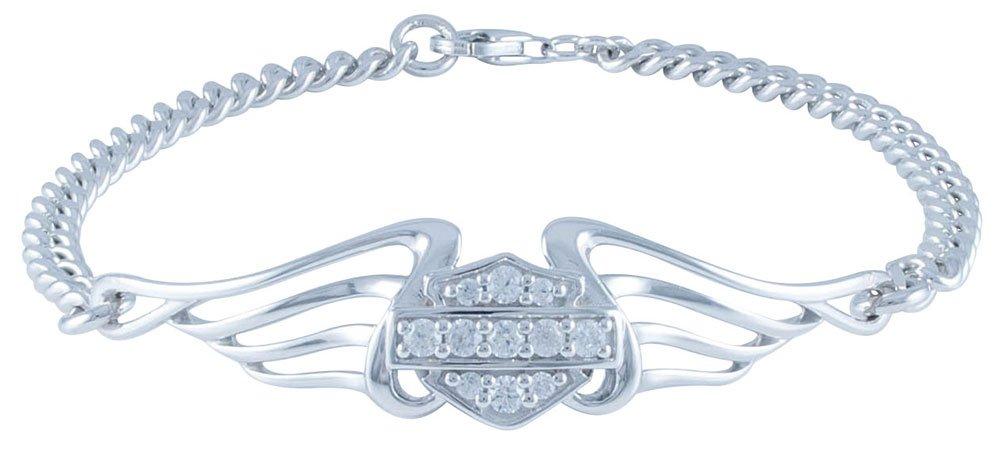 Harley-Davidson Women's Bling B&S Pierced Wings Chain Bracelet HDB0364 (7)