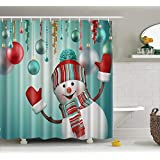 "Christmas Shower Curtain Decorations Collection,Winter Holiday Xmas Themed House Decor New Year Ornaments, Polyester Fabric Bathroom Bath Curtain Set with Hooks (Happy Snowmen, 60"" X 72"")"