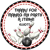 Bowling Birthday Party Stickers or Favor Tags